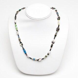 Handmade Recycled Paper Bead Namusisi Necklace MultiColor (Uganda)