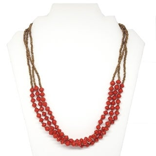 Handmade Recycled Paper Bead Najuma Necklace Red Gold (Uganda)