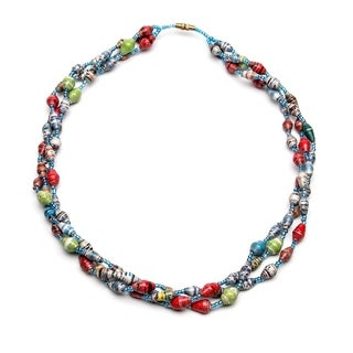 Handmade Paper Bead Triple Strand Matino Necklace Multicolor (Uganda)