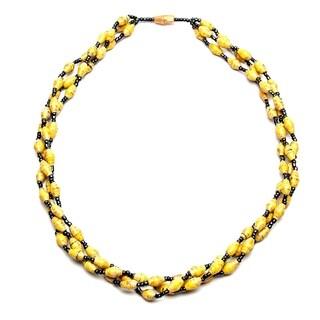 Handmade Recycled Paper Bead Triple Strand Matino Necklace Yellow (Uganda)