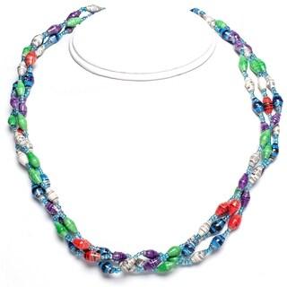 Handmade Recycled Paper Bead Triple Strand Matino Necklace Green Purple Blue (Uganda)