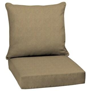 Arden Selections Tan Hamilton Texture 2-Piece Deep Seating Outdoor Dining Chair Cushion Set