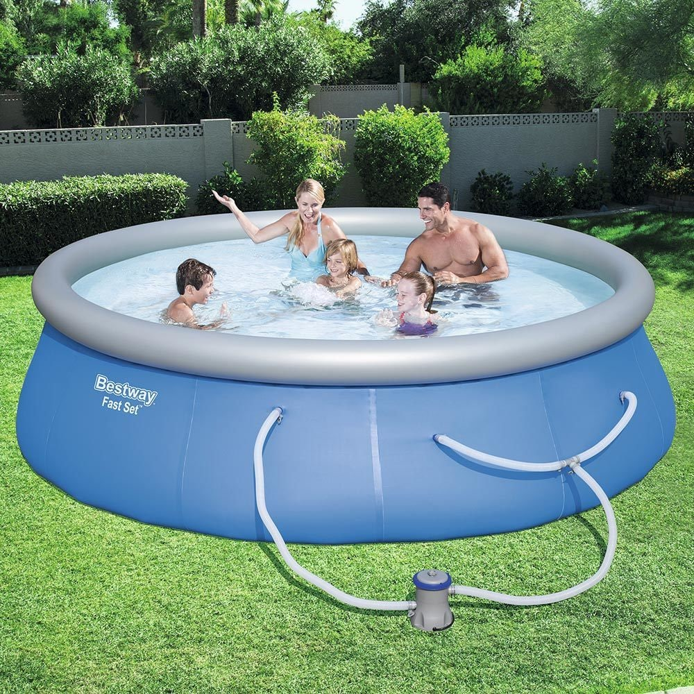 Bestway Fast Set Swimming Pool Set with 530 GPH Filter Pump, 13\' x 33\
