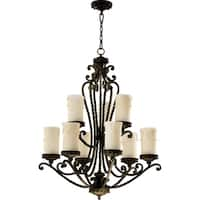 Alameda Oiled Bronze and Amber Scavo 9-light Chandelier