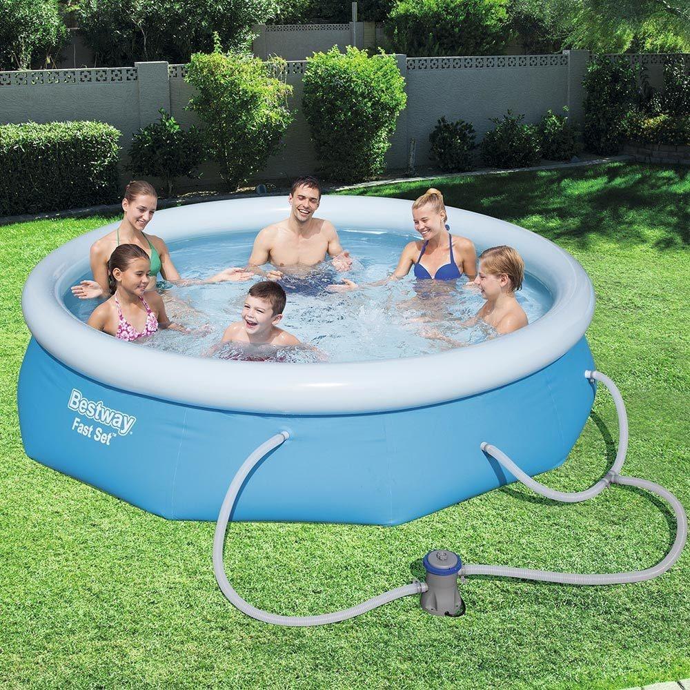 Bestway Fast Set Swimming Pool Set with 330 GPH Filter Pump, 10\' x 30\