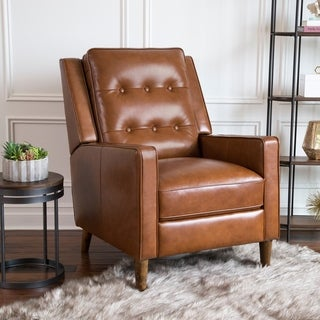 Abbyson Holloway Mid Century Top Grain Leather Pushback Recliner