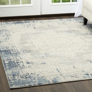 "Home Dynamix Palmyra Collection Blue/Grey Oriental Area Rug - 7'9""x10'2"""