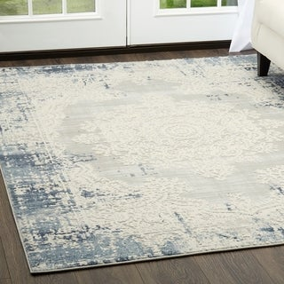 "Home Dynamix Palmyra Collection Blue/Grey Oriental Area Rug - 7'9"" x 10'2"""