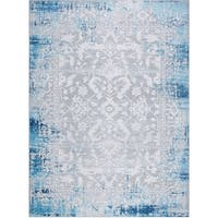 """Home Dynamix Palmyra Collection Blue/Grey Distressed Area Rug - 7'9"""" x 10'2"""""""