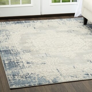"Palmyra Collection Soft Blue Oriental Area Rug by Home Dynamix - 5'2"" x 7'2"""