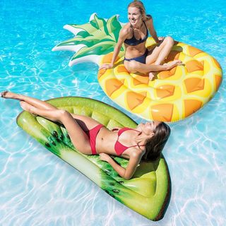 Intex Pineapple & Kiwi Slice Mat Combo Pack for Swimming Pools