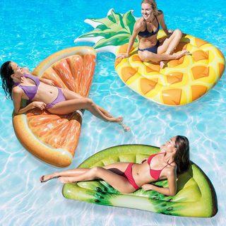 Intex Pineapple, Orange Slice and Kiwi Slice Mat Combo Pack for Swimming Pools