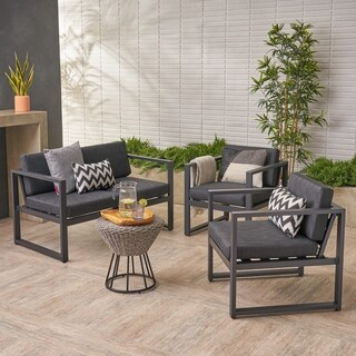 Navan Outdoor 4 Seater Aluminum Chat Set by Christopher Knight Home