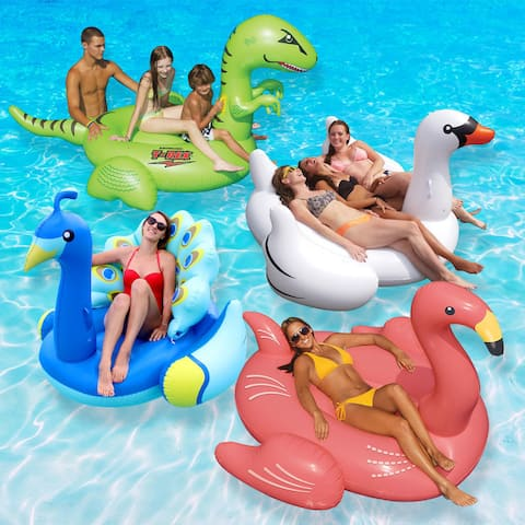 Swimline Animal Kingdom Extra Large Swimming Pool Floats Combo Value Pack: Swan, Flamingo, Peacock, and T-Rex