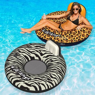 Swimline Wildthings Floating Tube for Swimming Pools, Cheetah and Zebra 2-Pack