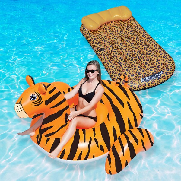 Swimline Wildthings Animal Kingdom Combo Pack, Cheetah Mat And Ride On Tiger