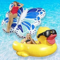Robelle Extra Large Swimming Pool Floats Combo Value Pack, Duck and Butterfly