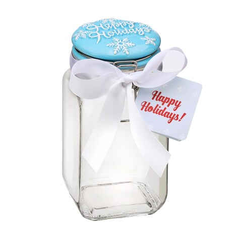 Happy Holidays Aqua Piazza MD Hermetic Preserving Canister