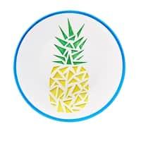 Paradise Pineapple Round Serving Platter, Aqua, 14 inches