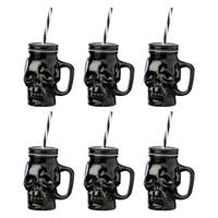 Skull Mason Black Blk Lid, Set of 6