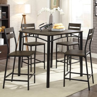 Link to Furniture of America Vae Rustic Brown Metal 5-piece Counter Set Similar Items in Dining Room & Bar Furniture