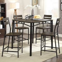 Furniture of America Patton Rustic Modern 5-Piece Counter Height Dining Set