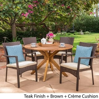 Stamford Outdoor 5 Piece PE Wicker Dining Set with Circular Table by Christopher Knight Home