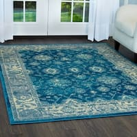 "Serena Collection Distressed Blue-Ivory Area Rug by Home Dynamix - 7'9"" x 10'2"""