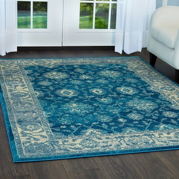 """Serena Collection Distressed Blue-Ivory Area Rug by Home Dynamix - 7'9"""" x 10'2"""""""