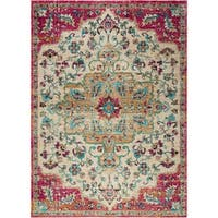 """Serena Collection Classic Ivory-Fuchsia Area Rug by Home Dynamix - 5'3"""" x 7'2"""""""