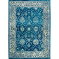 "Serena Collection Distressed Blue-Ivory Area Rug by Home Dynamix - 3'6"" x 5'3"""