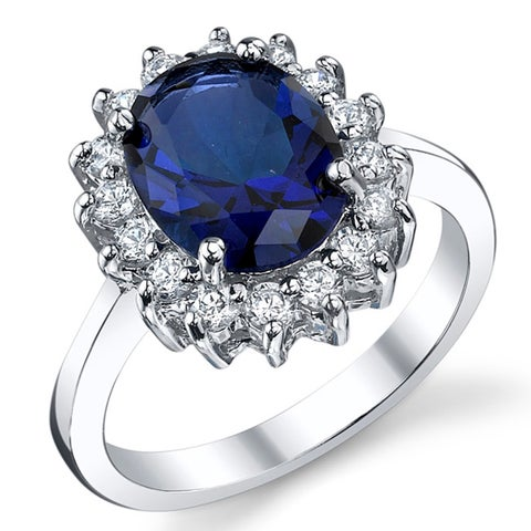 Oliveti Solid Sterling Silver Kate Middleton's Engagement Ring with Simulated Sapphire Blue Cubic Zirconia