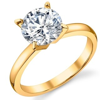 Oliveti Gold Tone Over Sterling Silver 2 Carat Round Cubic Zirconia Wedding Engagement Ring