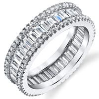 Oliveti Sterling Silver Eternity Ring Wedding Band with Baguette Cubic Zirconia Stones