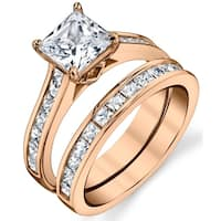 Oliveti Rose Tone Over Solid Sterling Silver Princess Cut Bridal Set Engagement Ring Cubic Zirconia