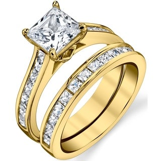 Oliveti Gold Tone Over Solid Sterling Silver Princess Cut Bridal Set Engagement Wedding Ring With Cubic Zirconia