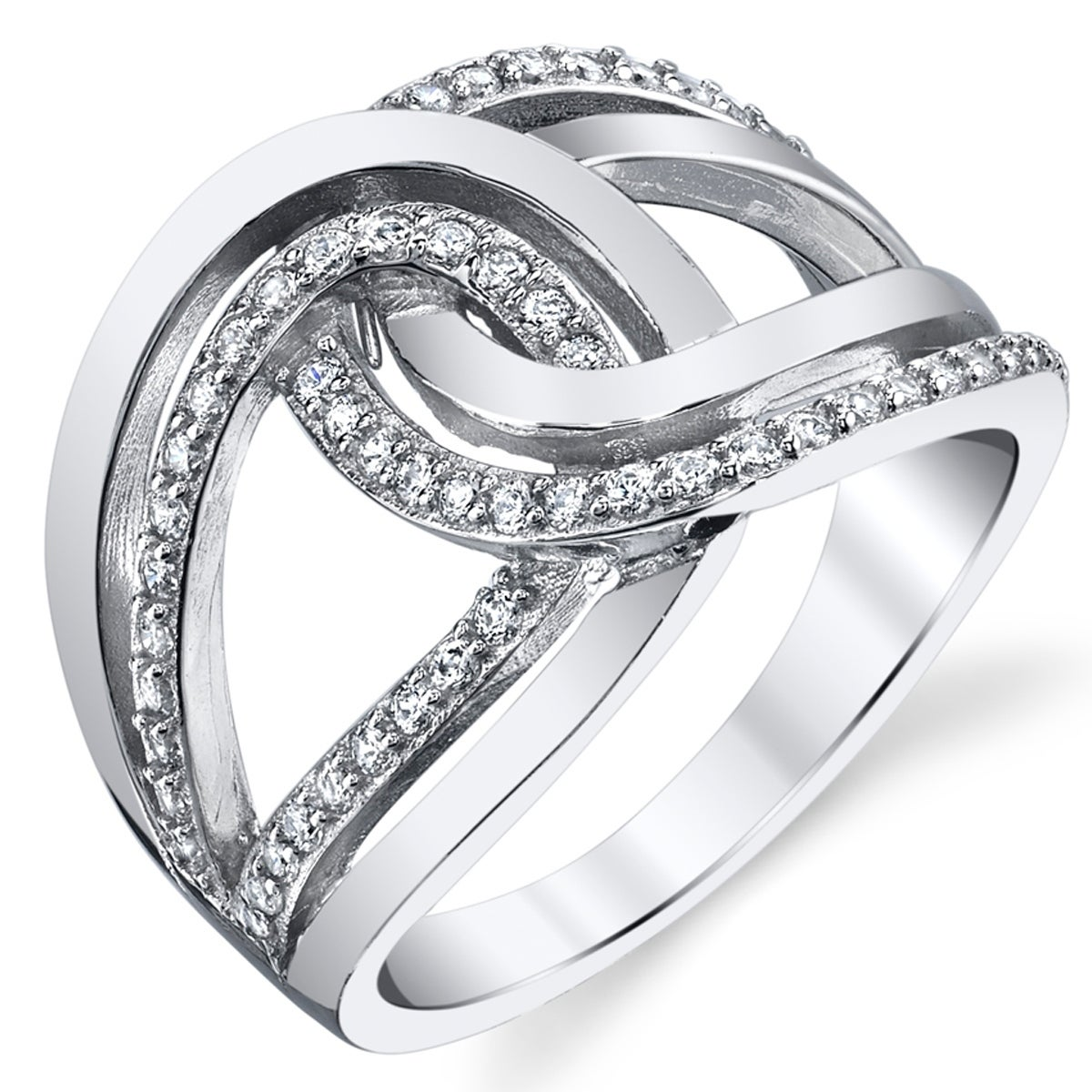 Oliveti Sterling Silver Interlocking Double Love Knot Ring Band With Cubic Zirconia Right Hand Ring Overstock 21135073