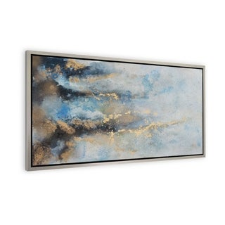 """Rising River"" Hand Painted Abstract Wall Art on Canvas - 20"" x 2"" x 40"""