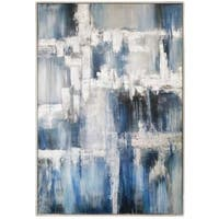 """White Caps"" Hand Painted Abstract with Silver Leaf on Canvas - 50"" x 2"" x 74"""