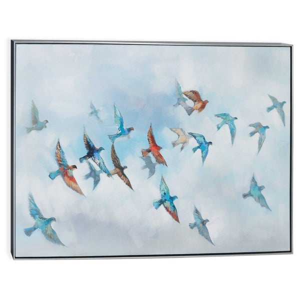"""""""Journey"""" Hand Painted Birds on Canvas - 62"""" x 2"""" x 40"""""""