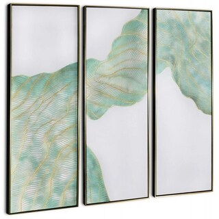 """""""Generation (Set/3)"""" Hand Painted Teal & Gold Abstract on Canvas - 59"""" x 2"""" x 59"""""""