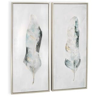 """""""Plume (Set/2)"""" Hand Painted Feather Abstracts on Canvas"""
