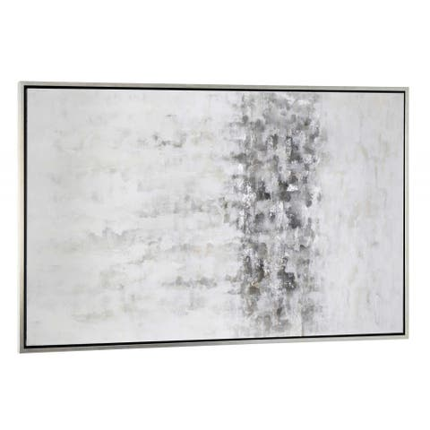 "Silver Orchid ""Winter Storm"" Hand-painted Monochromatic Abstract on Canvas"
