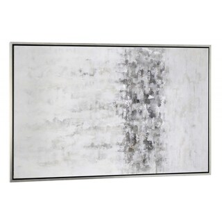 """Winter Storm"" Hand Painted Monochromatic Abstract on Canvas - 74"" x 2"" x 40"""