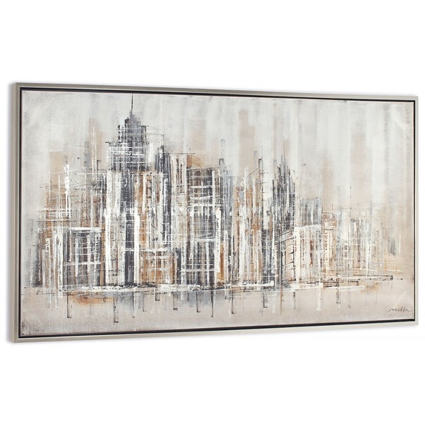 """""""Citified"""" Hand Painted City Abstract on Canvas"""