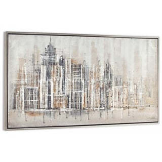 """Citified"" Hand Painted City Abstract on Canvas - 74"" x 2"" x 37"""