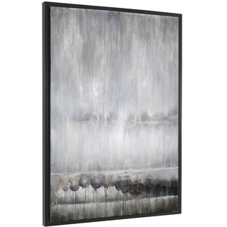 """Fogged In"" Hand Painted Abstract Wall Art on Canvas - 42"" x 2"" x 62"""