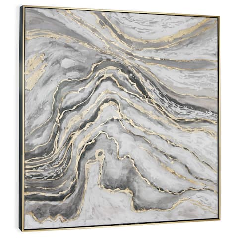 """""""Marble Slab"""" Hand Painted Abstract with Gold Leaf on Canvas"""