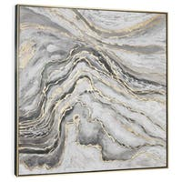 """""""Marble Slab"""" Hand Painted Abstract with Gold Leaf on Canvas - 40"""" x 2"""" x 40"""""""