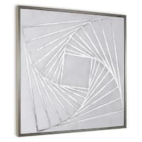 """""""Structure II"""" Hand Painted Geometric Wall Art on Canvas on Canvas - 40"""" x 2"""" x 40"""""""